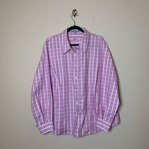 Foxcroft Pink Plaid Fitted Button Down Shirt